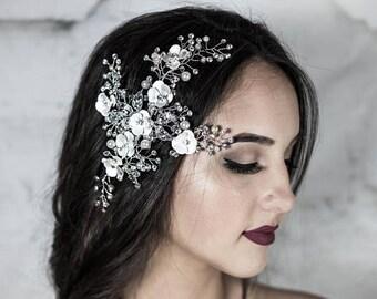 Silver Comb, Bridal Hair Comb, Wedding Hair Pin, Vine Hair Piece, Wedding Accessories
