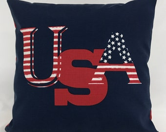 Pillow Cover- USA Pillow - Patriotic Pillow - 2 Sided - Red White and Blue - Outdoor/ Indoor pillow - Lined - Invisible Zipper - 18 x 18