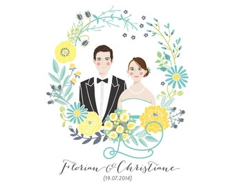 Illustrated Couple Portrait // Additional digital file