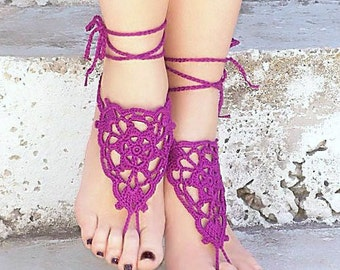 Purple Lilac Οrchid Barefoot Sandals, Crochet Nude shoes,  Foot jewelry, Wedding, Victorian, Sexy, Yoga, Bellydance, Steampunk, Beach Pool