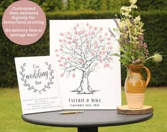 Hand Drawn Fingerprint Wedding Tree, Thumb Print Guest Book, Wedding guest book alternative, Guest book fingerprint tree, Tree sketch art