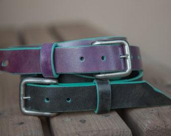 Turquoise Borders | Leather Belts | Purple Belt | Black Belt | Black Leather Belts | Handmade in the USA