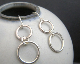 tiered silver circle earrings. sterling silver dangle. geometric drop hoop earrings. modern. chain. simple jewelry gift for her. women
