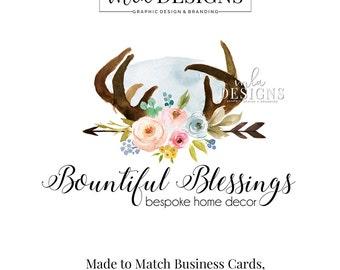 Decor Logo, Wedding Logo, Blog Header, Floral Logo, Watercolor Deisgn, Business Logo, Premade Logo, Custom Logo Design, Interior Design Logo