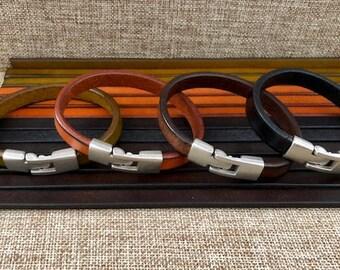 Mens Leather Bracelet, Quality Leather Men's Gift Braclet, Metal Clasp, Black Cuff Braclets JLA-54
