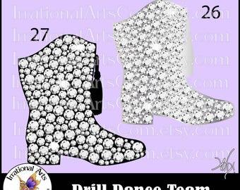 Drill Dance Team Silhouettes Rhinstones Poses 26 and 27 Hat - 2 EPS & SVG and 2 PNG digital files and Scl