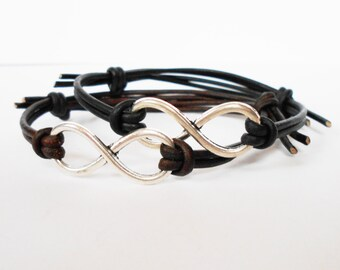 infinity bracelet, infinity leather cuff bracelet, adjustable friendship cuff, love token, festival bracelets, gift for him her