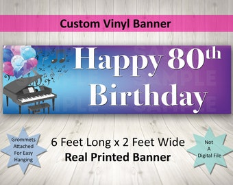 80th Birthday Banner Large Printed 2 by 6 feet