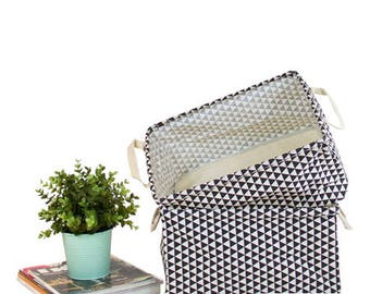 Set of 2-Black Triangle Pattern Fabric Storage Box with Handles