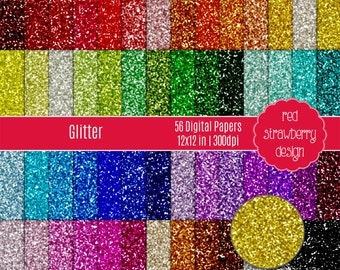 75% OFF Sale - 56 Digital Papers - Glitter - Instant Download - JPG 12x12 (DP128)