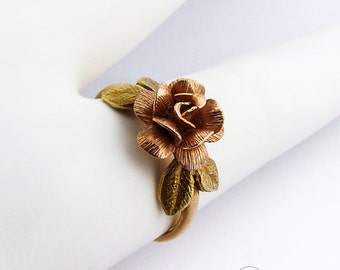 Figural Flower Ring 14K Rose Yellow Gold