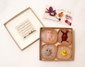 Miniature Crochet Farm Yard Critter Magnet Set