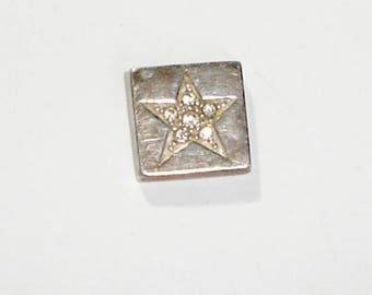 925 Sterling Silver Square Slide Necklace Pendant w/Clear CZ in Star Pattern