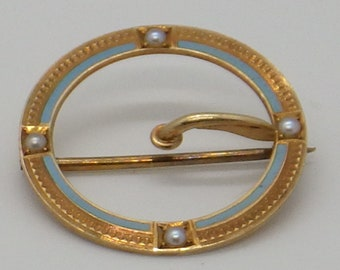 14K Nouveau Enamel and Seed Pearl Riker Brothers Brooch