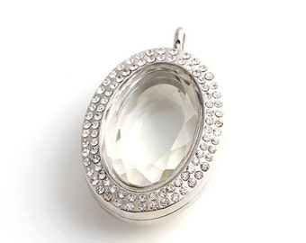 silver oval floating locket, Facted Glass Locket, Memory Locket, Floating Lockets With Clear Crystals