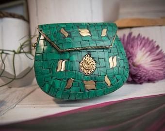 Stone Mosaic Jade Purse