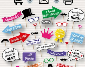 School Reunion Photo Booth Prop - Class Reunion Props, Instant Download, Party Printable