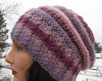 Wool Slouchy Hat for Men and Women - Purple, Rose Slouch Hat - Large Winter Beanie, Cloche, Slouch