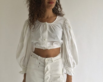Vintage White Puff Sleeve Shirt | Crop Folk Blouse Shirt | Birkin Bardot | Cotton Puffy Puff Pouf Sleeves | Provence Romantic