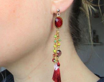 Dangle earrings modern Gypsy, porcelain beads, glass beads, clasps 14 k gold filled ear studs