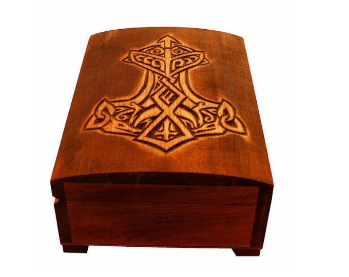 Wooden historical jewelry box with Thor Hammer