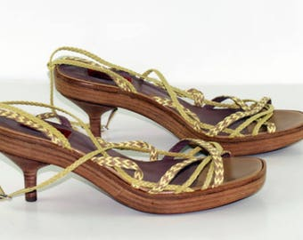Missoni Sandals-No. 40 EU-9 US/Canada-6.5 UK-medium wooden heel-real braided leather-green and yellow-Made in Italy