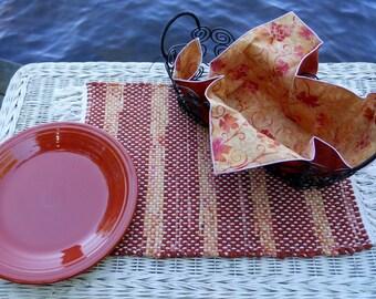 Handwoven Paprika Rag Placemat & Handmade Matching Napkin, Set of 1