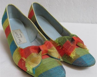 "On Sale! 1960's ""Town & Country"" Silk Shoes / Stripes / Size: 6 AA"
