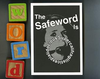 BDSM Safeword, Funny ball gag - Greeting Card