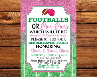 Touchdown or Pom Poms Invitation, Gender Reveal, Football, Quarterback Cheerleader Gender Reveal or Baby Shower Invitation 163