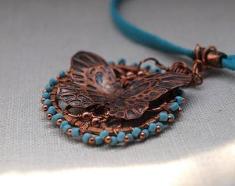3D Copper Embossed Butterfly Necklace