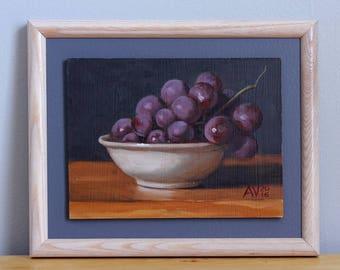 Globe Grapes Framed Original Oil Painting Still Life by Aleksey Vaynshteyn