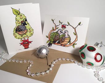First and Second Days of Christmas Partridge in a Pear Tree and Turtle Doves Blank Greeting Card/Notecard/Holiday Card/Christmas Card