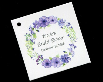 Bridal Shower Favor Tags - Personalized Tags - Bridal Shower Tags - Gift Tags - Wedding Favor Tags - Purple - Floral Wreath - Set of 20
