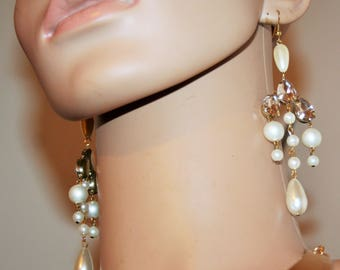Earrings baroque - snow and ice