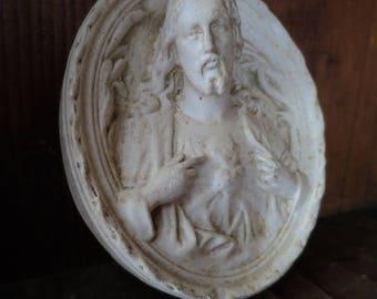 Antique French Chalk Ware / Plaster Sacred Heart Jesus Meerschaum
