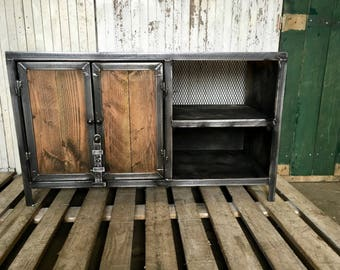 Industrial furniture with wood and steel latch