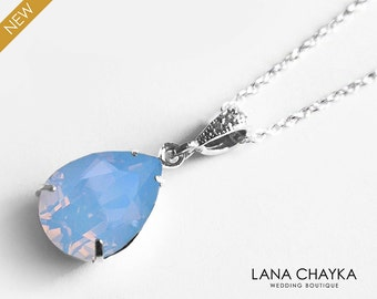 Blue Opal Crystal Necklace Swarovski Air Blue Opal Pastel Blue Sky Sterling Silver Necklace Bridesmaid Blue Necklace Wedding Blue Jewelry