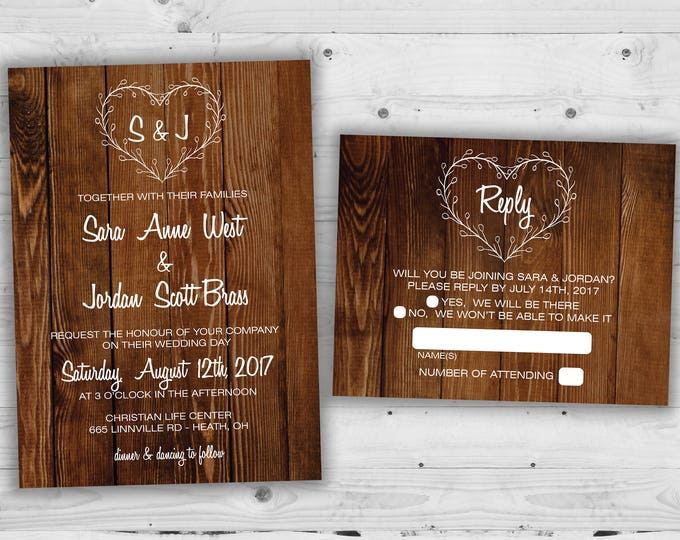 Country Heart Wedding Invitations Set Printed, Rustic Wedding Invitation, Burlap, Kraft, Wood, Outside, Southern Wedding Invitations, Barn