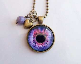 Purple Eye Necklace -  You Choose Bead and Charm - Custom Jewelry - Photo Jewelry -  Human Eye - Biology Pendant - Science Teacher Gift
