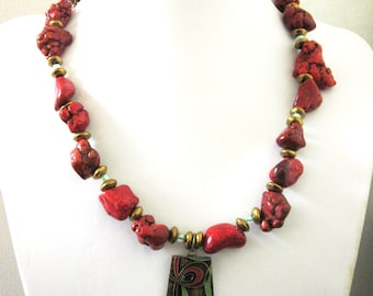 Western Jewelry Necklace Chunky Red Stone
