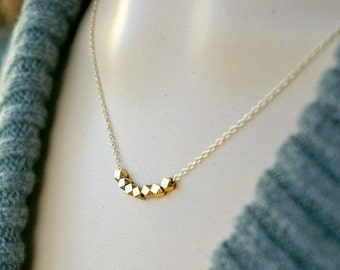 Modern Geometric Necklace / Lucky Seven Gold Nuggets on a Gold Filled Chain ... 7 tiny little beads