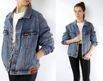 Vintage Denim Jacket / Cropped Jean Jacket / Jean Jacket Patches / Oversized Trucker Jacket / AVIREX / Denim Jacket Vintage / Trucker Jacket