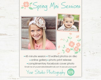 Spring Mini Session Marketing Board Template for Photographers INSTANT DOWNLOAD