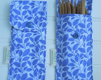 Reusable bamboo cutlery and carrying pouch  - Picnic cutlery case - Flatware pouch - Bamboo cutlery - Zero waste lunch - Periwinkle leaves