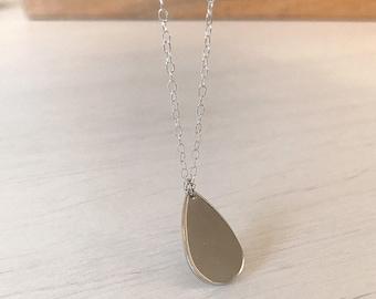 Silver Teardrop Necklace, Simple Jewellery, Bridesmaid Gifts