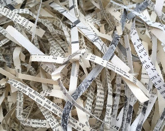 650g Shredded Naturally Aged Recycled Paper Reclaimed From Damaged Mixed Antique & Vintage Book Pages Upcyled Unusual Packing Material