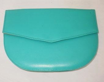 Vintage 1980's green clutch bag