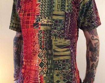 Hawaii Shirt Colourful Psychedelic USA Cotton Sz M Medium
