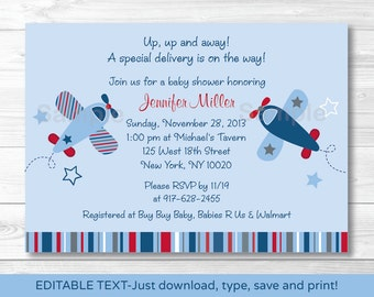 Airplane Baby Shower Invitation INSTANT DOWNLOAD Editable PDF A337